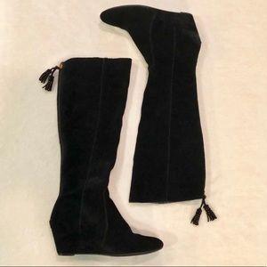 Anne Klein Azriel Black Wedge Suede Boots 7.5